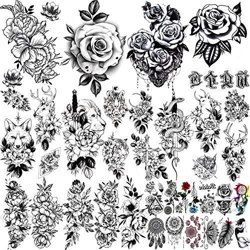 COKTAK 25 Blätter Groß Schwarz Blumen Temporäre Tattoos Frauen Sexy Skizze Realistische Rose Pflanzen Blume Fake Tattoo Mädchen Schlange Löwe Tatoo Aufkleber Gesicht Hals Bunt Erwachsene