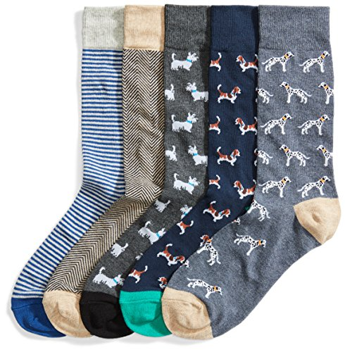 Goodthreads 5-Pack Patterned Socks Calcetines, Multicolor (Assorted Dogs), Large Talla del Fabricante Taglia Produttore Shoe Size 8-12