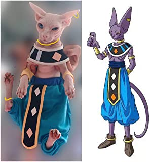 Khemn Luxury 丨HANDMADE 丨100% Cotton Dragon Ball Star Cat Beerus Costume Cat Fashion Clothes-Best for Hairless Cat
