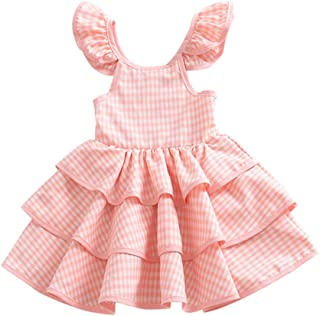 Fairy Baby Girls Plaid Sundress Backless Playwear Outfit Ruffle Cake Puffy Party Dress