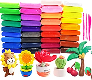 36 Pack Bright Colors Air Dry Clay Kit Ultra Light Plasticine Clay,Large Weight Colorful Magic Modeling Clay with Tools fo...