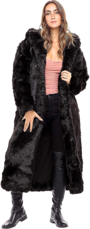 Alexander Del Rossa Women's Long Faux Fur Coat with Hood, Warm Plush Jacket