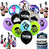 BESLIME Fournitures de Fête d'anniversaire pour Fans de Jeu Décorations de Fêtes -Thème de Jeu - Comprend Ballons, Gâteaux Toppers