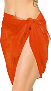 LA LEELA Women's Sarong Swimsuit Cover Up Summer Beach Wrap Skirt Solid Plain A