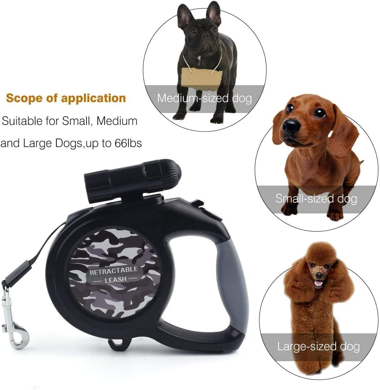 KEAIDUO Dog Leash Retractable Running Training Jogging ect Retractable Leads for Samll Medium Large Dogs up to 110lbs Blue 50KG 8M Long Extendable Dog Lead with Led Light for Night Walking