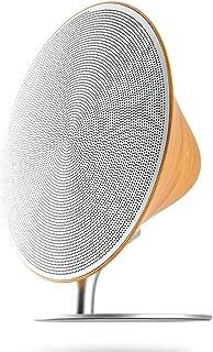 GLJJQMY Bluetooth Speaker UFO Round Wireless Home Audio Subwoofer Large Volume Charging Configuration NFC Aluminum Base Creative Wood Grain (Color : White)