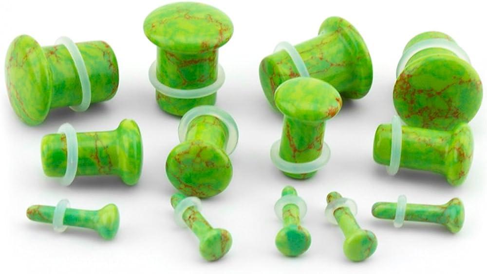 Urban Body Jewelry 2 Gauge (2G - 6mm) Green Howlite Stone Single Flare Plugs/Gauges (1 Pair)
