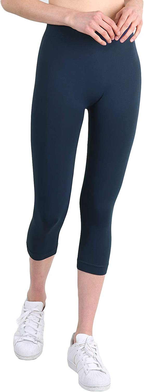 NIKIBIKI Women Seamless 3/4 Crop Capri Leggings, Made in U.S.A, One Size