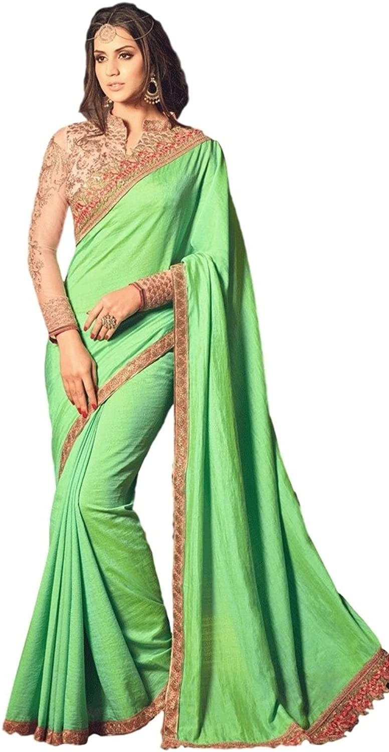 EthnicWear Designer Green Hot Selling Crape Silk Party Sari Saree With Embroidered Contrast Blouse
