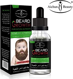 AICHUN BEAUTY Beard Oil Mustache Hair Growth Pure Natural Nutrients Skin Cleansing Vitamins Grapefruit Seed Oil Ginger Andrea Hair Growth 30ml