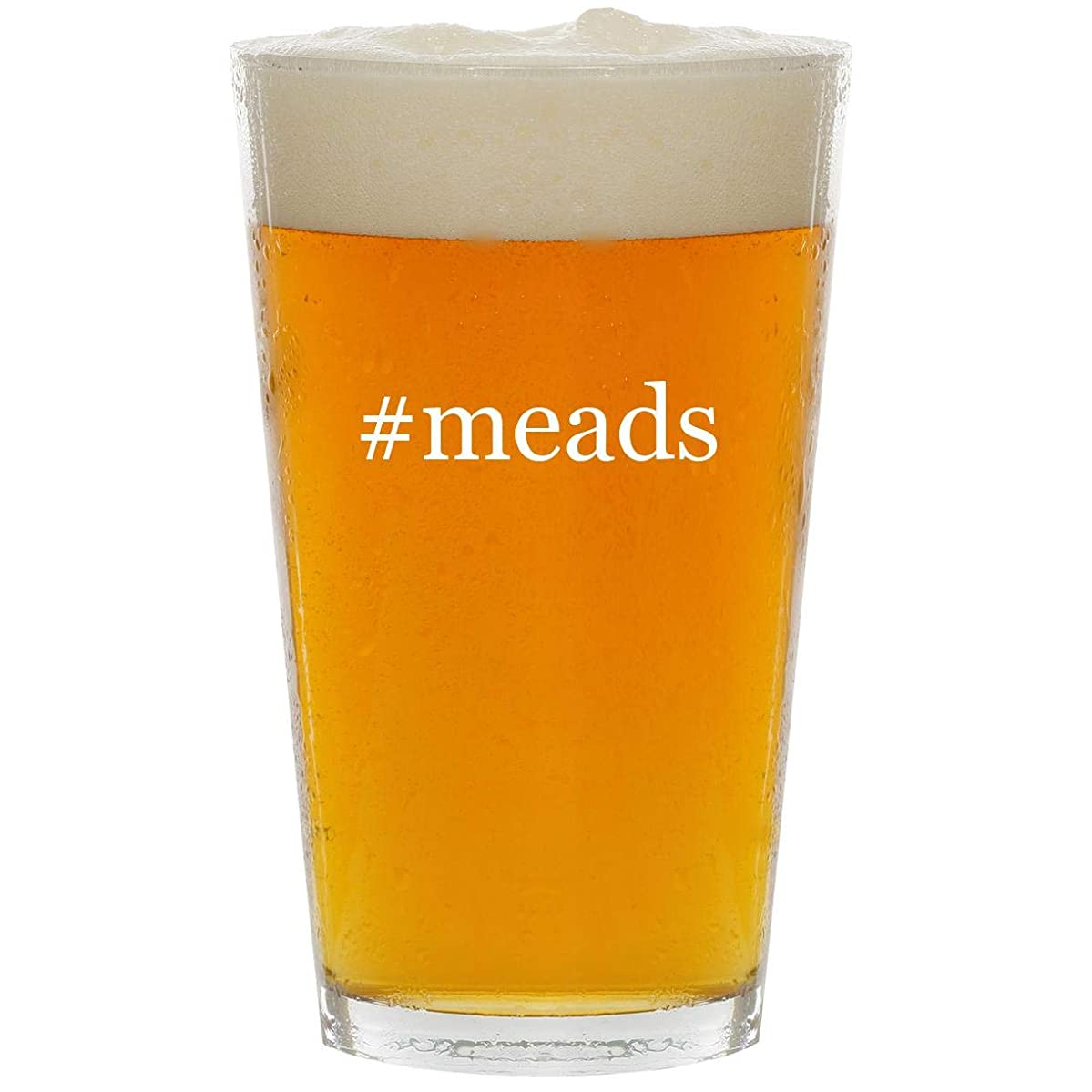 #meads - Glass Hashtag 16oz Beer Pint