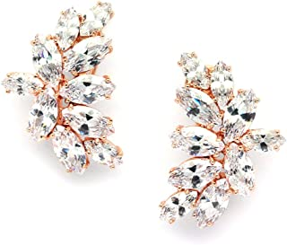 Blush Rose Gold CZ Earrings with Marquis-Cut Clusters - Bridal, Wedding & Mother of Bride Glamour