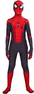 helymore Halloween Mono de Superheroe de Cosplay de Pelicula Jumpsuit Ajustado con Estampado de Arana, Altura Adecuada 100cm-150cm
