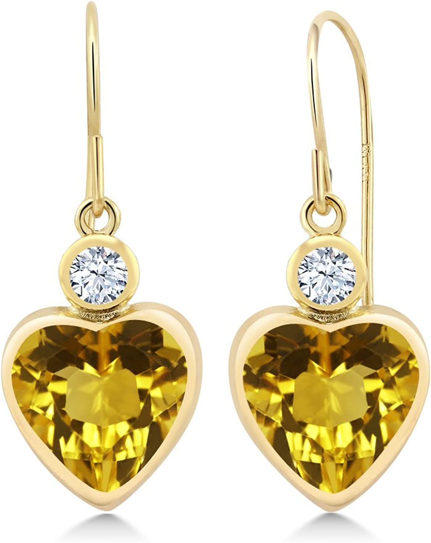 Gem Stone King 3.46 Ct Yellow Citrine White Created Sapphire 14K Yellow gold Earrings