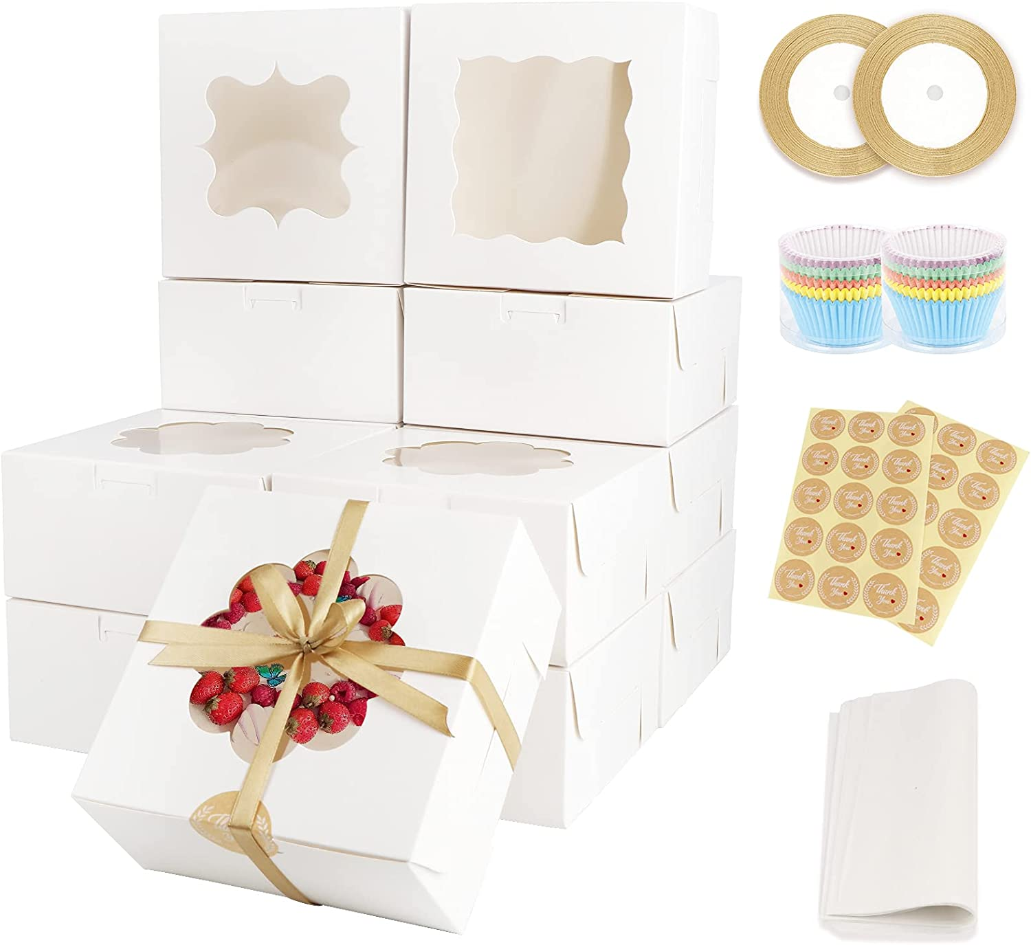 OurWarm 24Pcs White Bakery Boxes with Window, 6x 6x 3 Inches Paperboard Treat Boxes,Cookie Boxes for Pastry, Cupcakes, Strawberries,Includes 200Pcs Cupcake Liners, 30Pcs Stickers and Ribbons