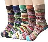 5 Paar Damen Winter Wollesocken, Super Weiche Dicke Warme Socken, bunte Farbe hohe Qualität (Beige + Orange + Fruchtgrün + Marineblau + Kaffee)