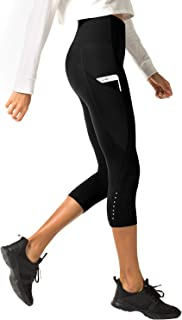 Mallas Deportivas 3/4 Capris de Mujer Cintura Alta con Bolsillo (Leggings para Yoga, Pilates, Running) L02
