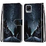 SEEYA Handyhülle mit Motiv für ZTE Axon 11 5G, Leder Hülle Flip Hülle Brieftasche 3D Sternenklare Nacht Schutzhülle mit Kartenfach Magnetverschluss Tasche Handy Cover für ZTE Axon 11 5G