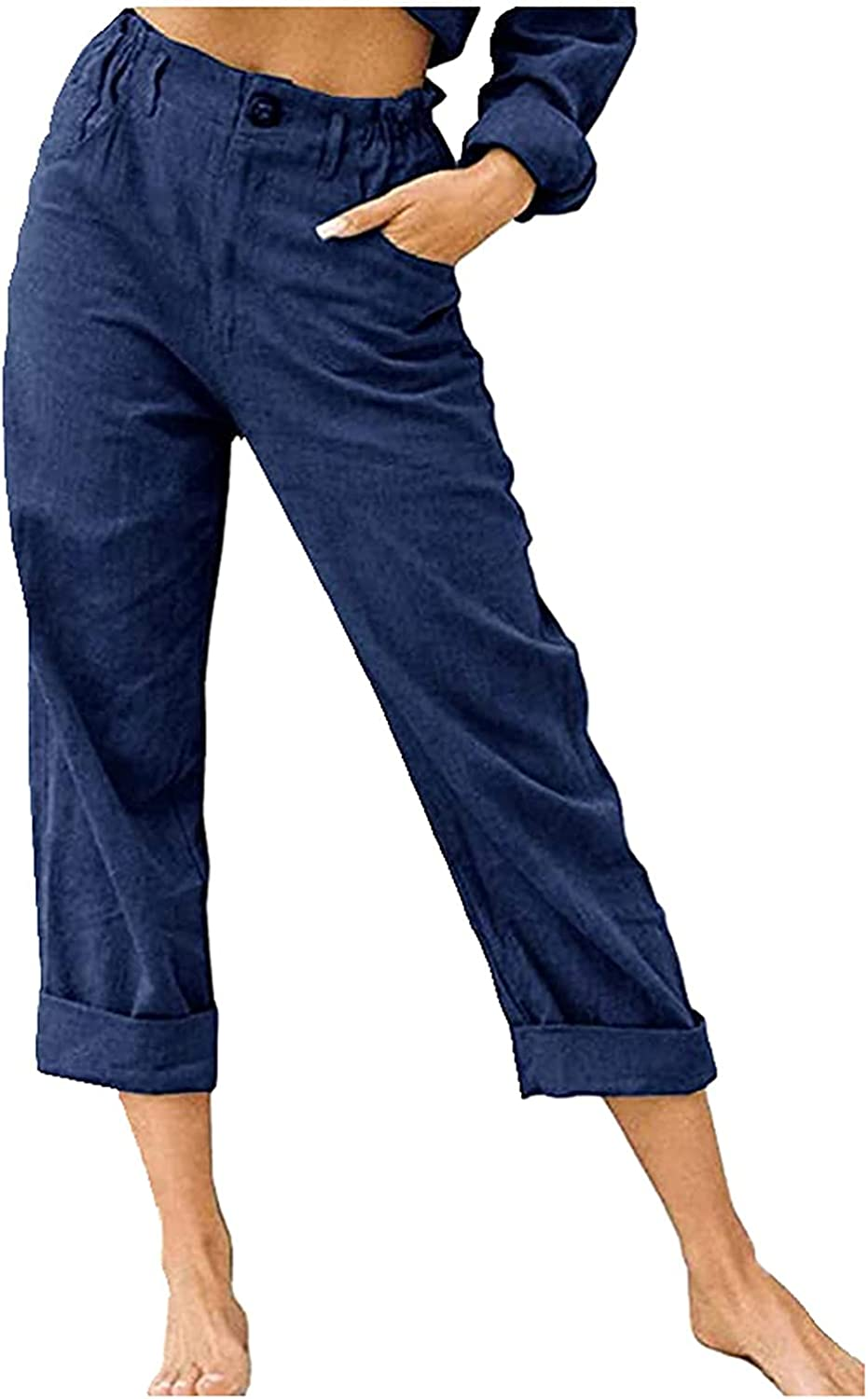 Fllaees High Waist Wide Leg Pants for Women Summer Business Casual Crop Dress Pants Stretch Pull On Capris