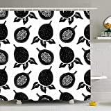 Shower Curtain For Bathroom 60x72 Black Silhouettes Passion Organic Fruits Seed Leafs Food Half Drink Closeup Color Diet Tropic Drawing Waterproof Polyester Fabric Bath Decor Set With Hooks 72x72 Inch