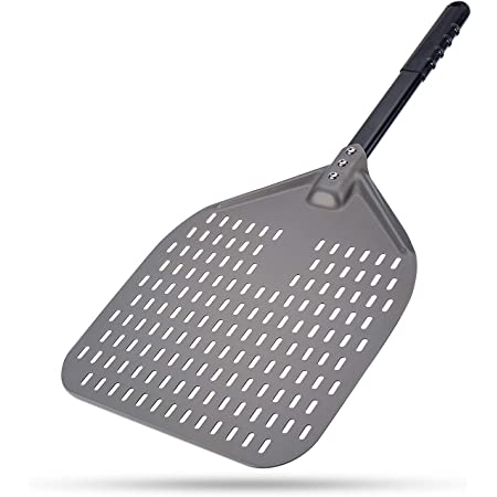 Perforated Pizza Peel, G.a HOMEFAVOR 12 x 14 Inch Rectangular Pizza Turning Peel, Professional Anodized Aluminum Turning Pizza Paddle, 26 inch overall