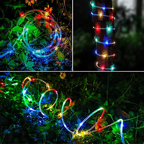 Fatpoom Solar Lights Rope Lights Solar Powered String Lights 40FT 120 LEDs 8 Modes Fairy Lights Outdoor Decoration Lighting for Garden Patio Party,Weddings,Christmas Décor Multi-Color