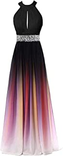 0b5f9d09216 FTBY Ombre Prom Dresses 2019 Gradient Chiffon Evening Dress Beaded Long  Formal Gowns Womens Party