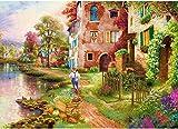 HUADADA Puzle de 1000 piezas, diseño de paisaje romántico, 1000 piezas, diseño de flores de cerezo, puzle de 1000 piezas, para niños a partir de 8 años, juguete para niñas, niños y adolescentes