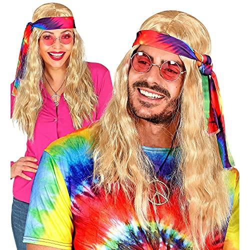 Widmann 02849 - Perücke Hippie mit Batik-Stirnband, lockige Kunsthaar-Perücke, Flower-Power, Reggae, Mottoparty, Karneval