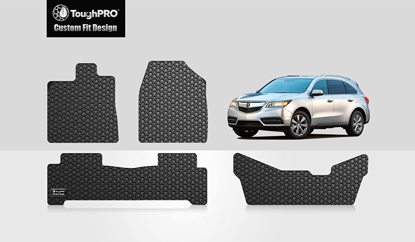 ToughPRO Floor Mats 1st + 2nd + 3rd Row Compatible with Acura MDX - All Weather - Heavy Duty - (Made in USA) - Black Rubber - 2014, 2015, 2016, 2017, 2018, 2019