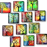 12Pcs Glass Strong Magnetic Refrigerator Magnet - Square Glass Fridge Decoration with a Powerful Flat Magnet, Office Whiteboard Magnet, Cabinet Magnet, Dishwasher Magnet, Cabinet Cute Locker Magnet