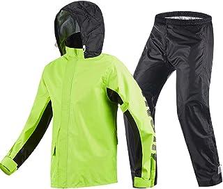 XRXY 大人の厚いスプリットタイプレインコート/ライディングレインコートレインパンツスーツ/アダルトオートバイ防水レインコート/スリムアウトドアハイキングレインコート(3色展開) ( 色 : B-Green , サイズ さいず : L l )