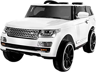 KidOne Range Rover Style 12-Volt MP3 Electric Battery Powered Ride On Kids Boys Girls Toy Car RC Parental Remote LED Lights Music -White