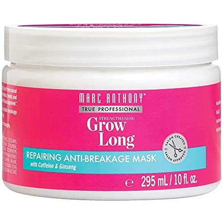 Marc Anthony Grow Long Hair Mask for Dry Damaged Hair - Argan Oil, Caffeine & Keratin Hair Treatment for Anti Breakage & Hair Growth – Sulfate Free, Leave In Hair Repair Deep Conditioner Volumizer