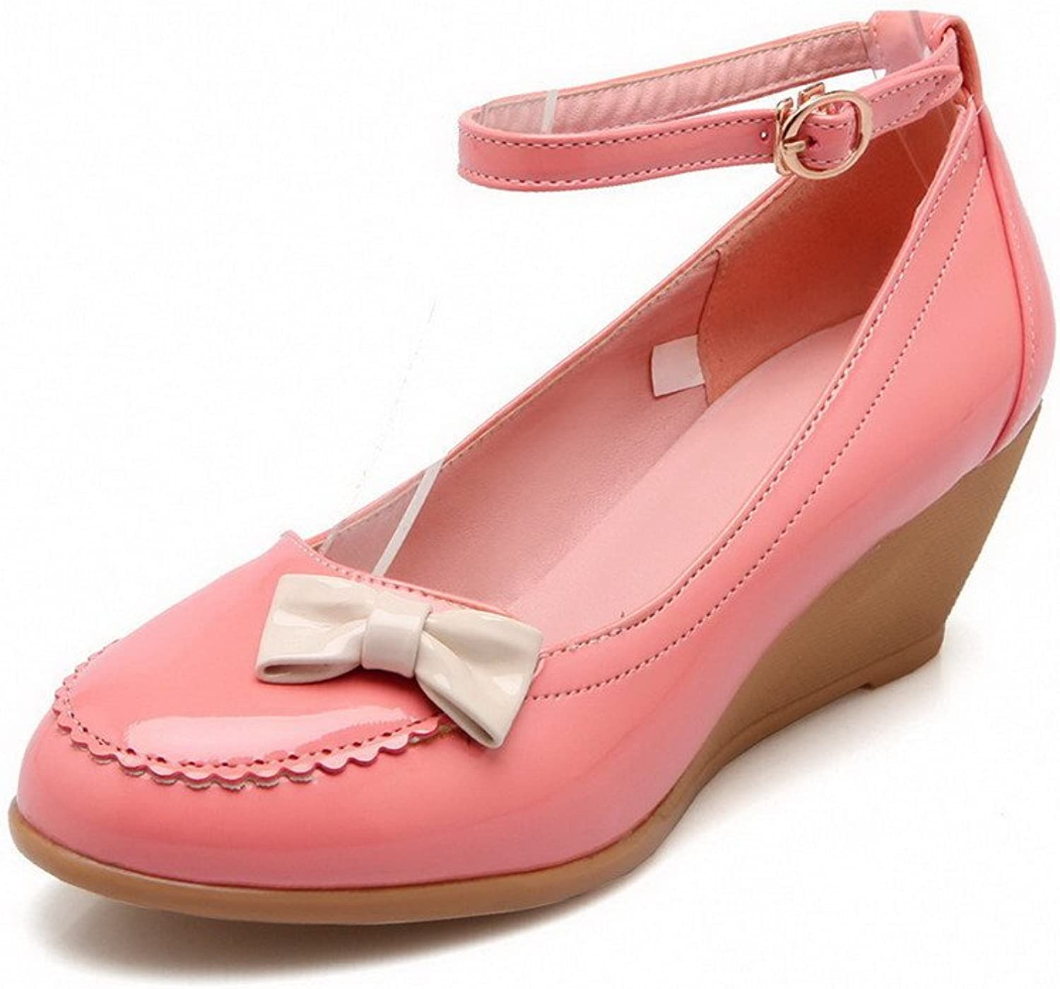WeenFashion Women's Patent Leather Kitten-Heels Buckle Round Closed Toe Pumps-shoes