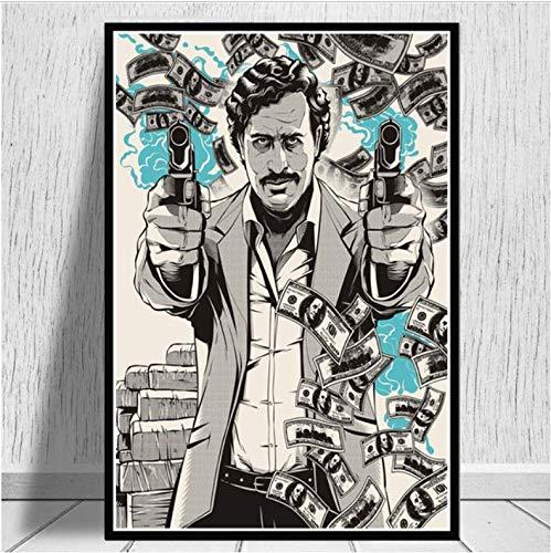 tgbhujk Pablo Escobar Charakter Legende Retro Kunst Poster Leinwand Malerei Wandbild Home Decor Poster und Drucke 42x60 cm Ohne Rahmen