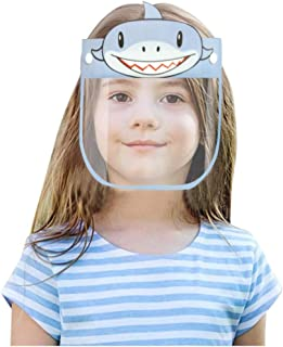 Sugarbig Cute Cartoon Shark Print Face Shields for Kids Children, Transparent Face Protection Reusable Washable Face Bandana, 180 degree Adjustable Face Guard