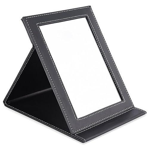 TASIPA Miroir de Voyage Pliable Portable, Miroir de Maquillage Coussin en Cuir PU, Miroir Compact Support réglable (L)