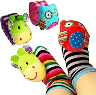 COSMARK Baby Wrist Rattles, Infant Baby Animal Wrist Rattles and Foot Finder Socks Set - Educational Development Toys Shower Gift with Owl and Calf (4 Packs)