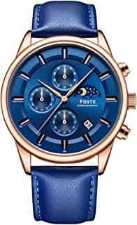 Mens Watches Chronograph Analog Quartz Date Moon Phase Waterproof Calfskin Leather Strap Casual Wrist Watch