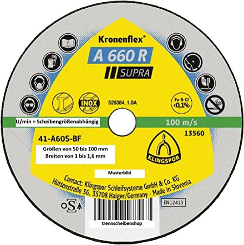 25x KLINGSPOR 329099 A 660 R Kleintrennscheiben 76 x 1 x 10 mm gerade, EAN 5907560188467