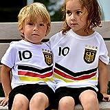 DE-Fanshop Deutschland Trikot Hose mit GRATIS Wunschname Nummer Wappen Typ #DV im EM/WM Weiss -...