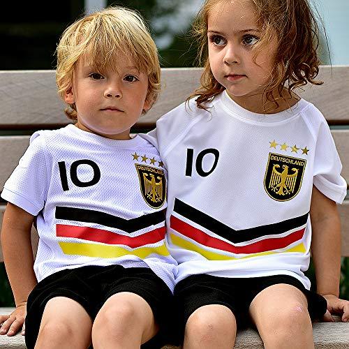 DE-Fanshop Deutschland Trikot Hose mit GRATIS Wunschname Nummer Wappen Typ #DV im EM/WM Weiss - Geschenke für Kinder,Jungen,Baby. Fußball T-Shirt personalisiert