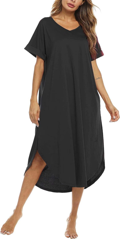 Bloggerlove Nightgown Women Comfy Loungewear Short Sleeve Nightshirts Casual V Neck Sleepwear S-XXL