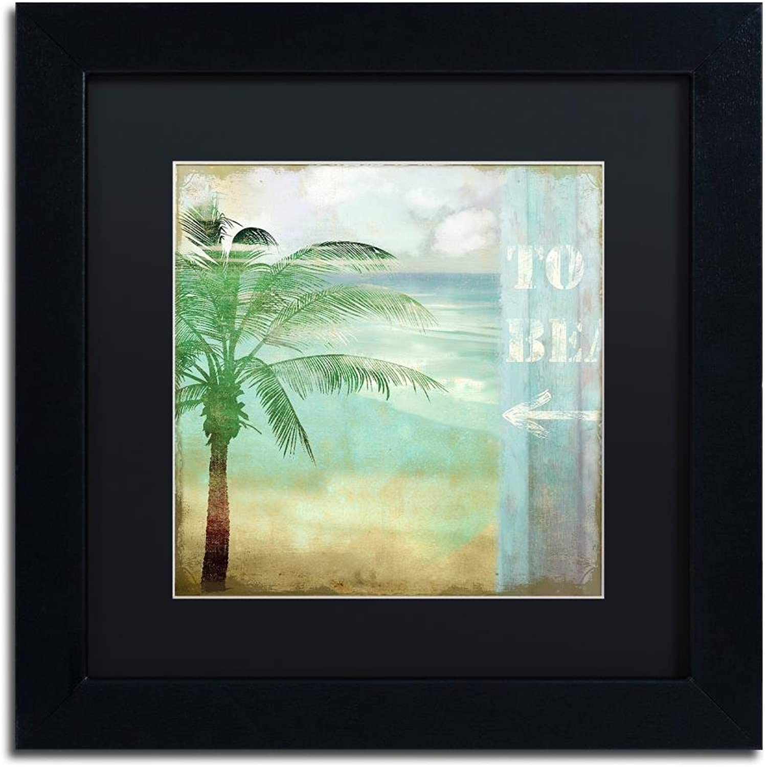 Trademark Fine Art by The Sea III by color Bakery, Black Matte, Black Frame 11x11, Wall Art