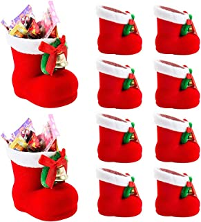 Interlink-US 10Pcs Christmas Candy Boots Shoes Decorations Red Santa Gift Candy Stocking Bag Portable Xmas Tree Hanging Gift Boxes for Kids