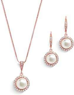 Freshwater Pearl Wedding Necklace & Earrings Rose Gold Halo Jewelry Set for Bridesmaids & Brides