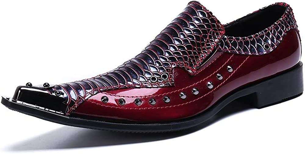 Rui Landed Men's Party Oxford Casual Genuine Leather Snakeskin Patchwork Delicate Rivet Pointed Metal Toe Shoes
