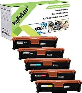 PayForLess Compatible 304A CC530A CC531A CC532A CC533A Toner Cartridge 5PK Replacement for HP Color Laserjet CP2025 CP2025dn CM2320 CM2320NF CM2320fxi Printers