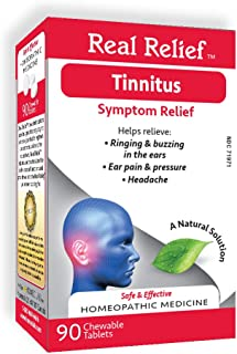 Real Relief Tinnitus, Homeopathic Tablets, 90 Count, Ringing & Buzzing in Ears, Ear Pain & Pressure, Headache